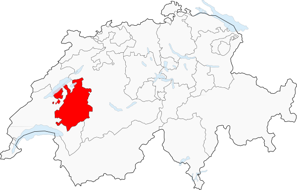 Carte de la Suisse (Canton de Fribourg) - Image Poulpy Wikipedia