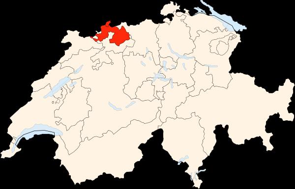 Carte de la Suisse (Canton de Bâle-Ville et Bâle-Campagne) (adapté de Wikipedia, Poulpy)