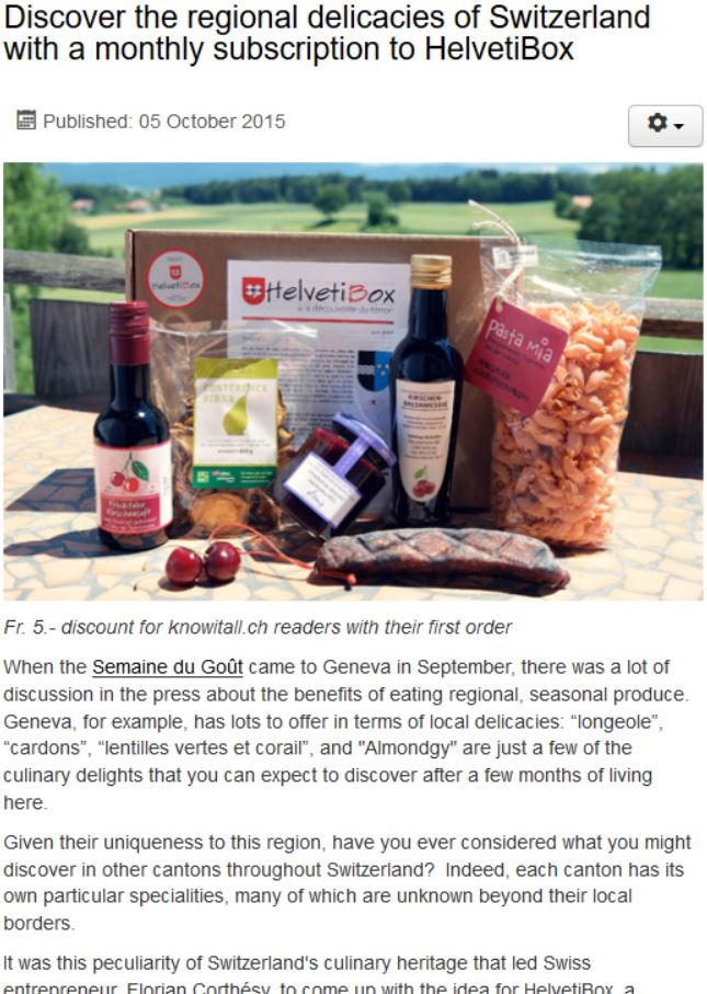 Discover the regional delicacies of Switzerland with a monthly subscription to HelvetiBox